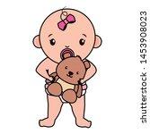 cute little baby girl with bear ... | Shutterstock .eps vector #1453908023