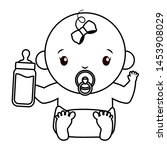 cute girl in diaper with milk... | Shutterstock .eps vector #1453908029