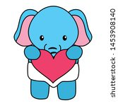 cute little elephant baby with... | Shutterstock .eps vector #1453908140