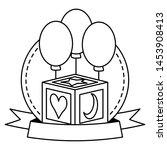 baby toys cube balloons ribbon... | Shutterstock .eps vector #1453908413