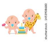 babies boy and girl baby shower ... | Shutterstock .eps vector #1453908680