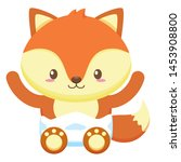 cute little fox baby character... | Shutterstock .eps vector #1453908800