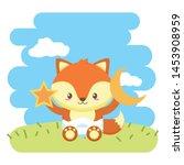 cute little fox baby with moon... | Shutterstock .eps vector #1453908959