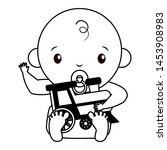 baby boy with train toy on... | Shutterstock .eps vector #1453908983