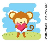 cute little monkey with heart... | Shutterstock .eps vector #1453909130