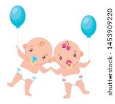 babies boy and girl baby shower ... | Shutterstock .eps vector #1453909220