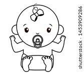 cute girl in diaper with... | Shutterstock .eps vector #1453909286