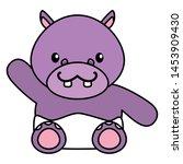 cute little hippo baby... | Shutterstock .eps vector #1453909430