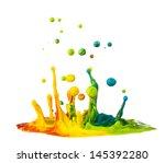 colorful paint splashing on... | Shutterstock . vector #145392280
