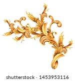 watercolor golden baroque... | Shutterstock . vector #1453953116