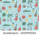 pen drawing vintage hawaiian...   Shutterstock .eps vector #1453959233