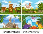 set of various animals in... | Shutterstock .eps vector #1453984049