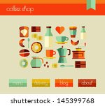coffee elements flat icons set... | Shutterstock .eps vector #145399768