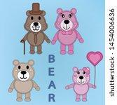 set of bear family papercut... | Shutterstock .eps vector #1454006636