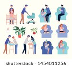 cute parents with newborn baby... | Shutterstock .eps vector #1454011256