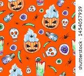 happy halloween pattern. hand... | Shutterstock . vector #1454057939