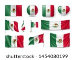 various flags of mexico... | Shutterstock .eps vector #1454080199