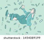 a lot of money is falling and... | Shutterstock .eps vector #1454089199