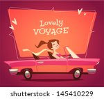 Girl Driving Car. Vector Retro...