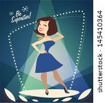 smiling girl on the podium.... | Shutterstock .eps vector #145410364