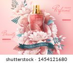perfume ads with light pink...   Shutterstock .eps vector #1454121680