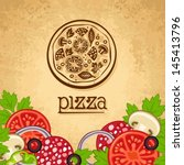 pizza. vintage fast food... | Shutterstock .eps vector #145413796