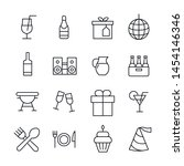 simple set of party icons in... | Shutterstock .eps vector #1454146346