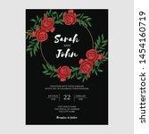 vintage red rose floral wedding ... | Shutterstock .eps vector #1454160719
