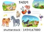 cartoon farm animals... | Shutterstock .eps vector #1454167880