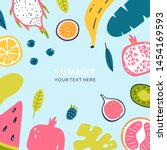 summer banner with pieces of... | Shutterstock .eps vector #1454169593