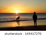 Boy And Dog On Beach At Sunset