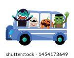 bus happy halloween with creepy ... | Shutterstock .eps vector #1454173649