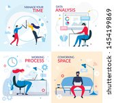 working banner set with flat... | Shutterstock .eps vector #1454199869