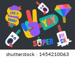 ice cream stickers. colorful... | Shutterstock .eps vector #1454210063