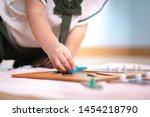 closeup  hands of a preschool...   Shutterstock . vector #1454218790