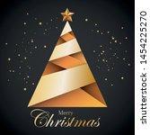 christmas tree origami. vector... | Shutterstock .eps vector #1454225270