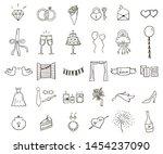 hand drawn wedding outline... | Shutterstock .eps vector #1454237090