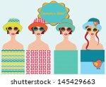 summer patterns set  girls with ... | Shutterstock .eps vector #145429663