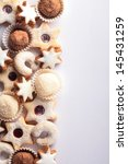 christmas cookies border and... | Shutterstock . vector #145431259