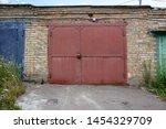 Old Metal Door To The Car Garage