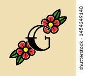 tattoo vector logo letter g. g... | Shutterstock .eps vector #1454349140