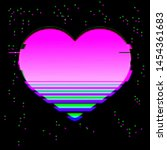 glitched and glowing heart icon ... | Shutterstock .eps vector #1454361683