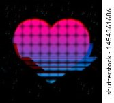 glitched and glowing heart icon ... | Shutterstock .eps vector #1454361686