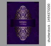 wedding invitation card with... | Shutterstock .eps vector #1454373200