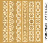 vector set of line borders with ... | Shutterstock .eps vector #1454411360