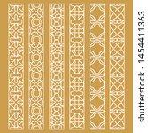 vector set of line borders with ... | Shutterstock .eps vector #1454411363