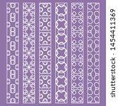 vector set of line borders with ... | Shutterstock .eps vector #1454411369