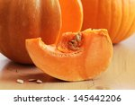 detail of piece of pumpkin. | Shutterstock . vector #145442206