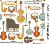 seamless pattern with jazz... | Shutterstock .eps vector #145443040