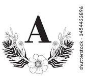 vector graphic floral alphabet  ... | Shutterstock .eps vector #1454433896